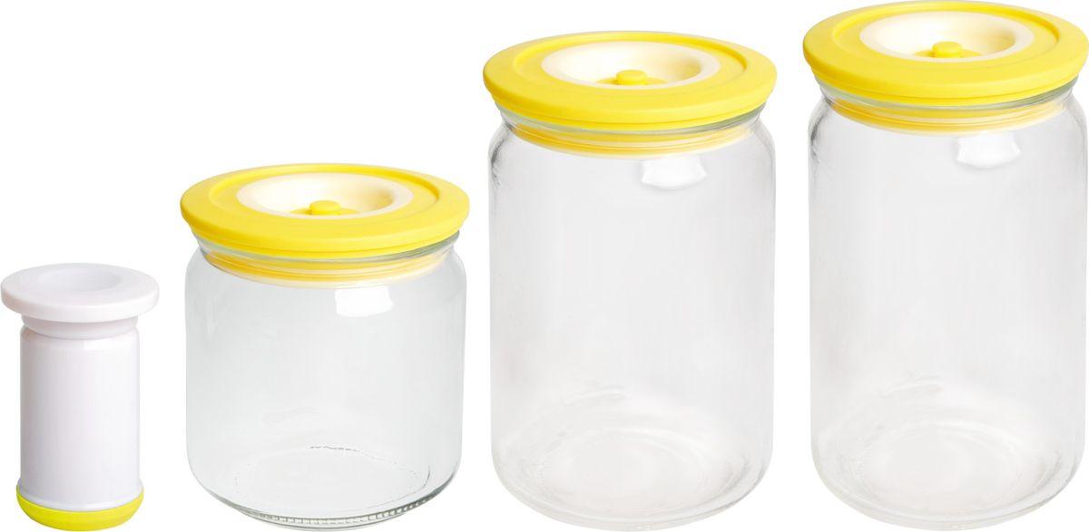 Банки для хранения вакуумные Bayerhoff, с насосом, цвет: желтый, прозрачный, 4 предметаBH-5196Вакуумные банки для хранения Bayerhoff выполнены из стекла и снабжены комбинированными крышками из пластика и силикона. В комплекте 3 банки разного объема, в которых удобно хранить различные сыпучие продукты. Насос, который также поставляется в комплекте, обеспечивает 100% воздухо- и водонепроницаемость. Вакуумная система позволяет дольше сохранять свежесть продуктов.Объем банок: 500 мл, 750 мл, 1 л.Диаметр банок: 9 см.Высота банок: 10 см, 15 см, 17 см.