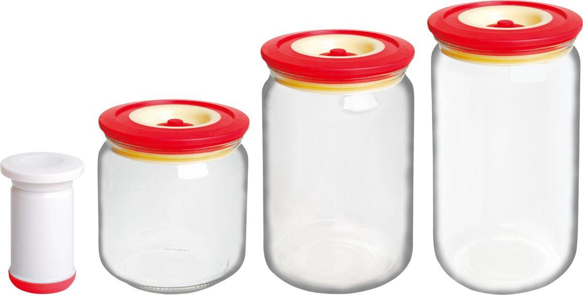 Банки для хранения вакуумные Bayerhoff, с насосом, цвет: красный, прозрачный, 4 предметаBH-5197Вакуумные банки для хранения Bayerhoff выполнены из стекла и снабжены комбинированными крышками из пластика и силикона. В комплекте 3 банки разного объема, в которых удобно хранить различные сыпучие продукты. Насос, который также поставляется в комплекте, обеспечивает 100% воздухо- и водонепроницаемость. Вакуумная система позволяет дольше сохранять свежесть продуктов.Объем банок: 500 мл, 750 мл, 1 л.Диаметр банок: 9 см.Высота банок: 10 см, 15 см, 17 см.
