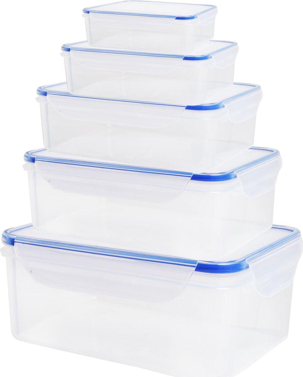 Набор пищевых контейнеров Bayerhoff, с крышками, 5 шт. BH-5241LLG422Набор контейнеров для продуктов BayerHoff состоит из пяти прямоугольных контейнеров,изготовленных из высококачественного пищевого пластика, который выдерживает температуруот -20°С до +120°С. Герметичные крышки, выполненные из пластика, обеспечивают 100% воздухои водонепроницаемость. Благодаря крышкам продукты дольше сохраняют свежесть. Контейнерылегко хранить, нужно просто сложить один в один.Подходят для использования в холодильной и морозильной камерах. Используйтетолько для хранения продуктов или для подогрева пищи. Идеальный вариант для хранения едыдома и в поездках.Можно использовать в микроволновой печи. Можно мыть впосудомоечной машине. Объем контейнеров: 250 мл, 500 мл, 1 л, 1,6 л, 2,6 л.Размер контейнеров (с учетом крышек): 12,5 х 8,5 х 4,5 см; 15,5 х 10,5 х 5,5 см; 18,5 х 12,5 х 6,5 см;21,5 х 15 х 7,5 см; 24,5 х 17,5 х 8,5 см.