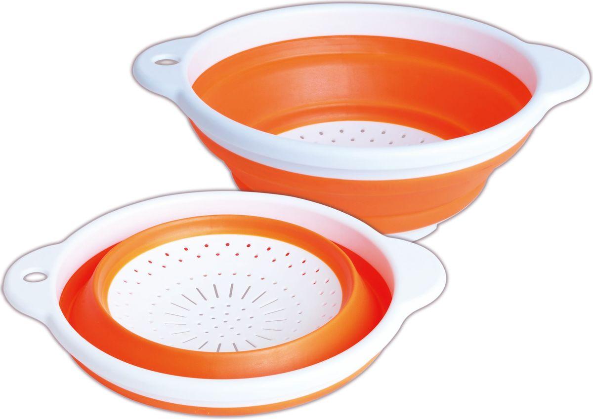 Дуршлаг Bayerhoff, складной, цвет: оранжевый, диаметр 23 смBH-5242Дуршлаг складной Bayerhoff, изготовленный из высококачественного пищевого пластика исиликона, станет полезным приобретением для вашей кухни. Он идеально подходит дляпроцеживания, ополаскивания макарон, овощей, фруктов.Можно мыть в посудомоечноймашине.Диаметр: 23 см.