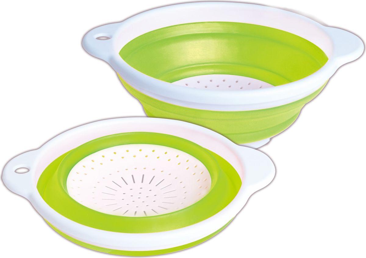 Дуршлаг Bayerhoff, складной, цвет: зеленый, диаметр 23 смBH-5243Дуршлаг складной Bayerhoff, изготовленный из высококачественного пищевого пластика и силикона, станет полезным приобретением для вашей кухни. Он идеально подходит для процеживания, ополаскивания макарон, овощей, фруктов.Можно мыть в посудомоечной машине.Диаметр: 23 см.