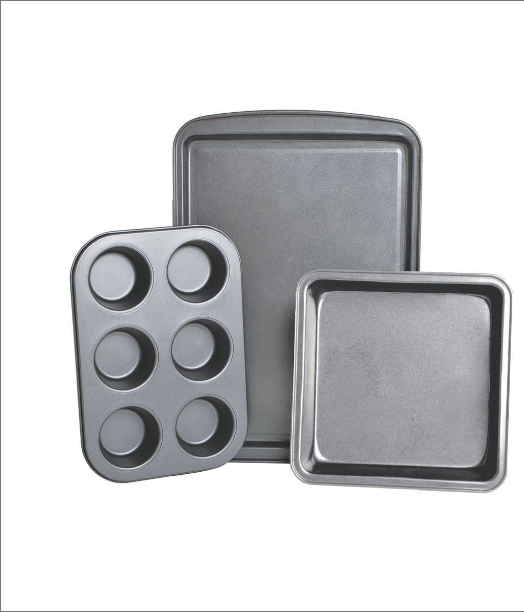 Набор противней Bayerhoff, 3 предмета. BH-5400BH-5400Набор Bayerhoff состоит из трех прямоугольных противней, изготовленных из штампованного алюминия. Приготовленная в такой посуде пища, отлично сохраняет свои вкусовые качества и имеет привлекательный, аппетитный внешний вид. Пища легко извлекается из противня. С такими противнями вы всегда сможете порадовать своих близких здоровой и вкусной едой. Изделия подходят для электрических плит, а также для использования в духовке. Внешний размер большого противня: 35 х 25 х 1,8 см. Внешний размер 2-х малых противней: 27 х 19 х 3 см; 22 х 22 х 5 см.