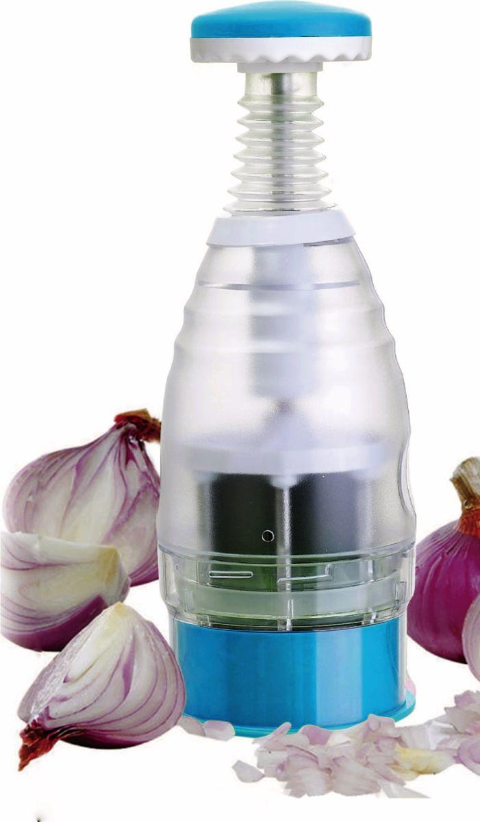 Овощерезка As Seen On TV Onion & Vegetable Chopper, цвет: прозрачный, голубойFM-4038Овощерезка As Seen On TV Onion & Vegetable Chopper - это многофункциональный прибор, который поможет быстро нарезать все виды твердых фруктов и овощей: картофель, морковь, сельдерей кабачки, огурцы, яблоки и груши. Корпус изготовлен из пластика, лезвия выполнены из высококачественной нержавеющей стали. Продукты измельчаются простым нажатием сверху на прибор. Благодаря такому механизму вы не порежетесь и ваши руки останутся чистыми при нарезке овощей или фруктов. Размеры овощерезки: 26,5 х 9,5 х 9,5 см.