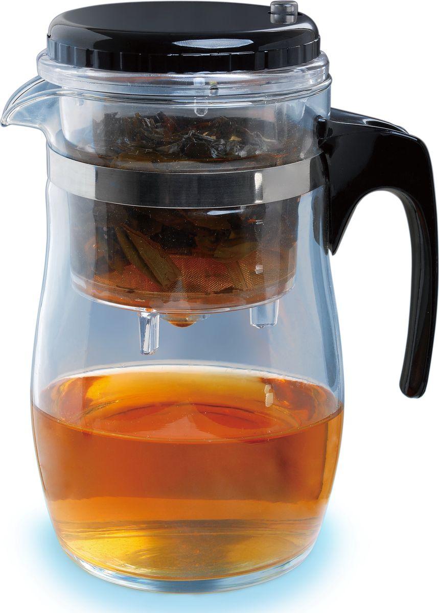 """Заварочный чайник """"Queen Ruby"""" изготовлен из высококачественного жаропрочного стекла и  пластика. Изделие оснащено сетчатым металлическим фильтром, который задерживает чаинки  и предотвращает их попадание в чашку, а прозрачные стенки дадут возможность наблюдать за  насыщением напитка.Чай в таком чайнике дольше остается горячим, а полезные и  ароматические вещества полностью сохраняются в напитке.Объем: 500 мл."""