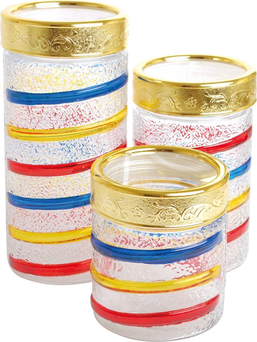 Набор банок для сыпучих продуктов Queen Ruby, 3 шт. QR-6074 набор банок для пищевых продуктов цвет зеленый оранжевый бордовый 3 шт