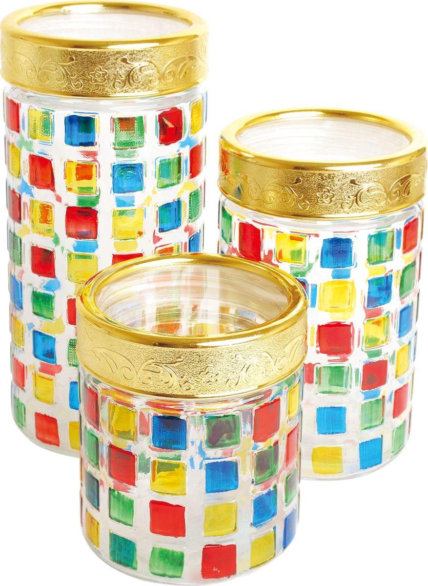 Набор банок для сыпучих продуктов Queen Ruby, 3 шт. QR-6075 набор банок для пищевых продуктов цвет зеленый оранжевый бордовый 3 шт