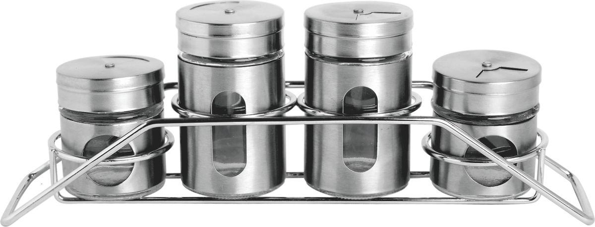 Набор емкостей для специй Queen Ruby, 5 предметов. QR-6078QR-6078Набор Queen Ruby состоит из четырех емкостей для специй, изготовленных из нержавеющей стали и прозрачного стекла, что позволяет видеть количество содержимого в емкости. Изделия оснащены откручивающимися металлическими крышками с отверстиями.Набор дополнен оригинальной металлической подставкой. Элегантный дизайн и прочная конструкция этих емкостей привлекает внимание и будет уместна на любой кухне.