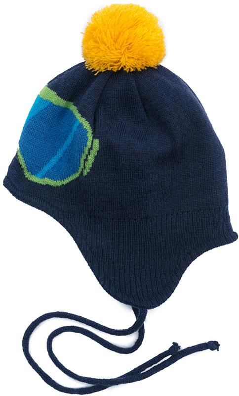 Шапка для мальчика PlayToday, цвет: синий. 371173. Размер 50371173Двуслойная вязаная шапка PlayToday. Подкладка из теплого флиса. Модель на завязках. Шапка плотно прилегает к голове и комфортна при носке. В качестве декора использованы оригинальный жаккардовый рисунок и яркий помпон.
