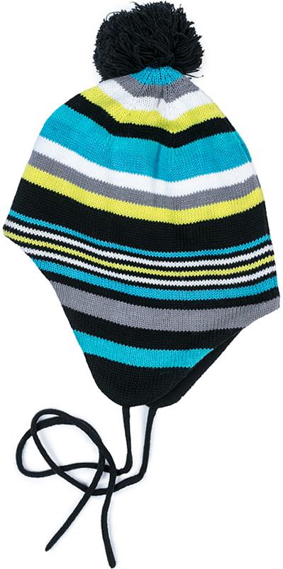 Шапка для мальчика PlayToday, цвет: синий, серый, желтый, голубой, белый. 371125. Размер 50371125Двуслойная шапка PlayToday на завязках. Внешняя часть из смесовой ткани с высоким содержанием натурального хлопка. Модель выполнена по технологии -Yarn Dyed - в процессе производства используются разного цвета нити. При рекомендуемом уходе изделие не линяет и надолго остается в первоначальном виде. Подкладка из флиса. Шапка дополнена помпоном.