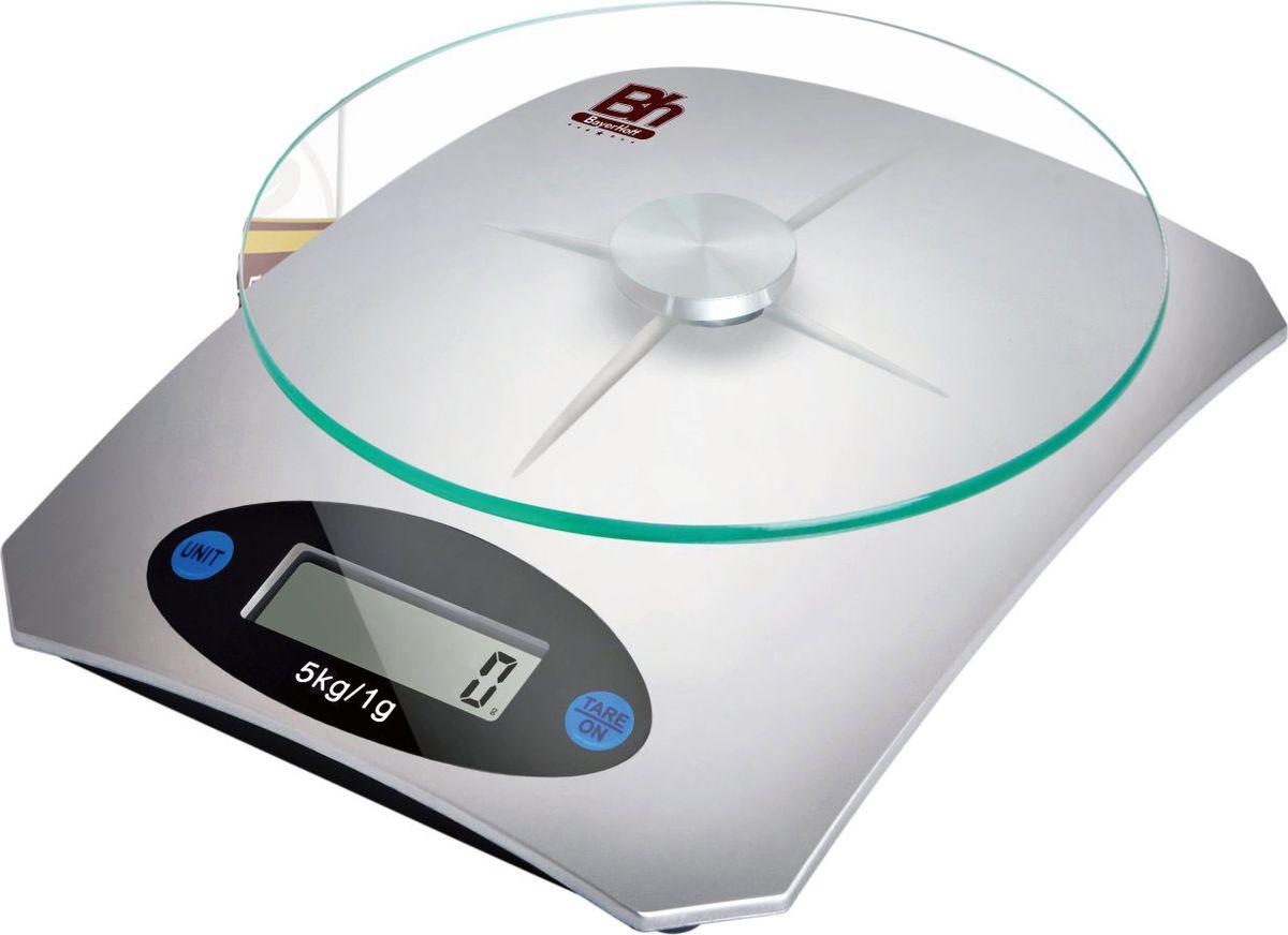 Весы кухонные электронные Bayerhoff, цвет: серебристыйBH-5606Электронные кухонные весы Bayerhoff имеют небольшой размер, прочную платформу и помогут современной, аккуратной хозяйке тщательновзвесить продукты, необходимые для успешного приготовления блюда. Кроме того, эти весы позволят людям, следящим за своим весом илисоблюдающим диету, контролировать количество съедаемой еды и размеры порций.