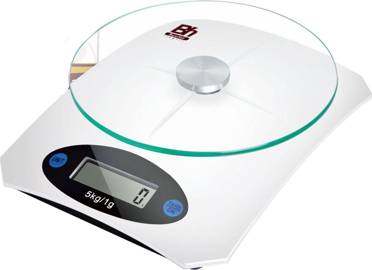 Весы кухонные электронные Bayerhoff, цвет: белый, до 5 кг. BH-5607BH-5607Электронные кухонные весы Bayerhoff простые и удобные для использования всегда будут под рукой. Изделие имеет высокоточный сенсорный дисплей и стеклянную платформу. За ними легко ухаживать - достаточно просто протереть поверхность платформы.Весы снабжены индикатором разряда батареи и перегрузки, функцией вычитания тары и автоматическим выключением. Для правильной работы максимальный вес продуктов не должен превышать 5 кг.Размер весов: 195 х 145 х 40 мм.Весы работают от батарейки: 1*3В СR2032 (входит в комплекте).