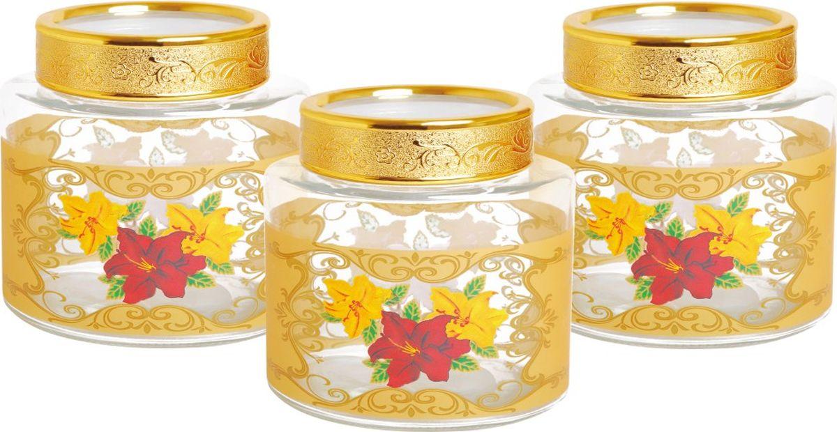 Набор банок для сыпучих продуктов Queen Ruby, 3 шт. QR-6110QR-6110Набор Queen Ruby состоит из трех банок одного объема, предназначенных для хранения сыпучих продуктов. Изделия выполнены из высококачественного стекла и декорированы изображением цветов. Закручивающиеся крышки оснащены пластиковыми вставками, которые позволяют герметично закрывать емкости и сохранить свежесть продуктов. Банки прекрасно подходят для круп, орехов, сухофруктов, чая, кофе, сахара и многого другого.Оригинальный и необычный дизайн набора Queen Ruby прекрасно впишется в интерьер вашей кухни. А также станет желанным подарком для любой хозяйки.