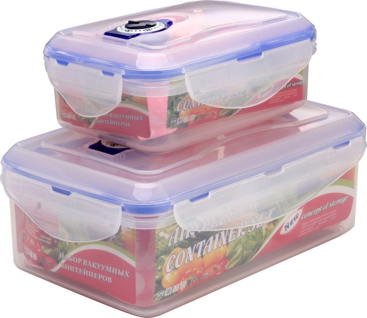 Набор контейнеров Queen Ruby, прямоугольные, 2 шт. QR-8576VAC-REC-Smaller WhiteНабор Queen Ruby состоит из двух контейнеров, которые изготовлены из высококачественногопластика. Изделие идеально подходит не только для хранения, но и для транспортировки пищи.Контейнеры оснащены плотно закрывающимися пластмассовыми крышками.Выдерживают температуру от -20°С до +120°С.Можно использовать в СВЧ-печах, холодильниках и морозильных камерах. Можно мыть впосудомоечной машине.Размеры контейнеров: 20 х 13 х 8 см; 14,7 х 10,3 х 6 см. Объем контейнеров: 1000 мл, 350 мл.