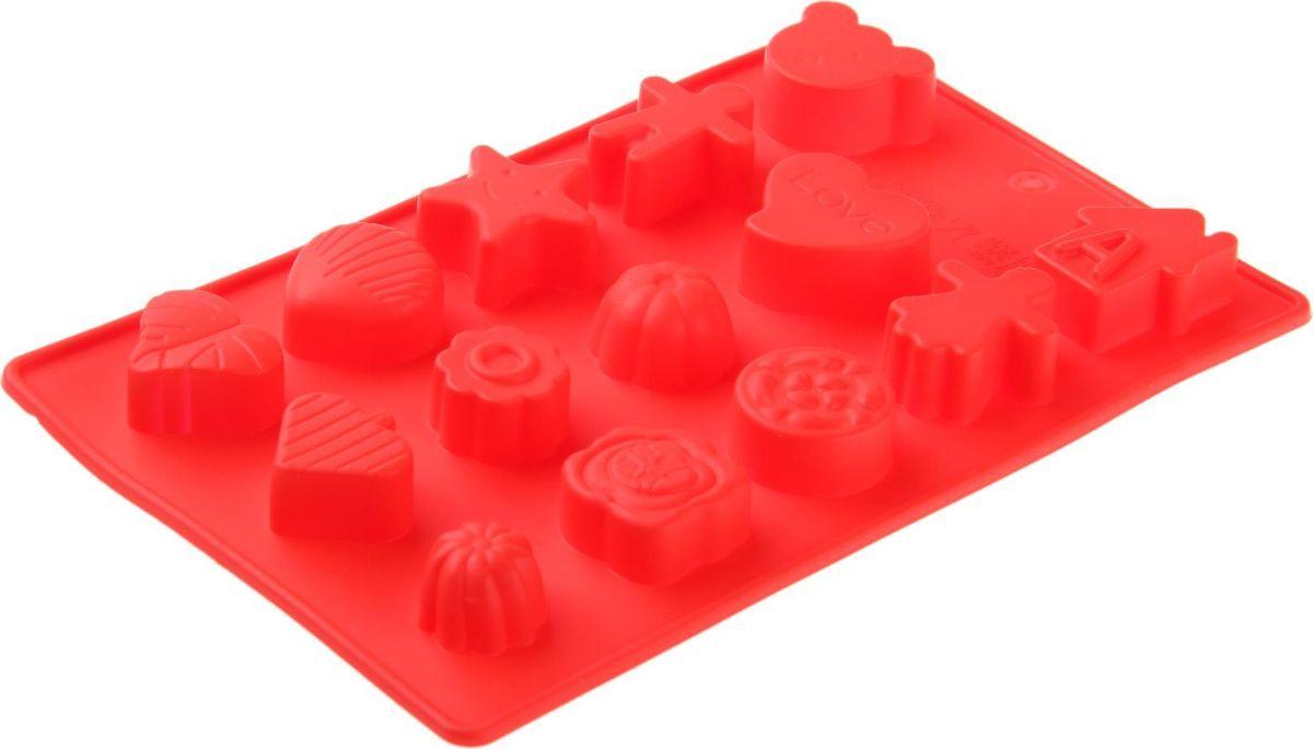 Форма для льда и шоколада Доляна Ассорти, 15 ячеек, 21 х 12 х 1,5 см1057079Силикон не теряет эластичности при отрицательных температурах (до - 40?С), поэтому, готовые льдинки легко достаются из формы и не крошатся. Лед получается идеальной формы. С силиконовыми формами для льда легко фантазировать и придумывать новые рецепты. В формах можно заморозить сок или приготовить мини порции мороженого, желе, шоколада или другого десерта. Особенно эффектно выглядят льдинки с замороженными внутри ягодами или дольками фруктов. Заморозив настой из трав, можно использовать его в косметологических целях.
