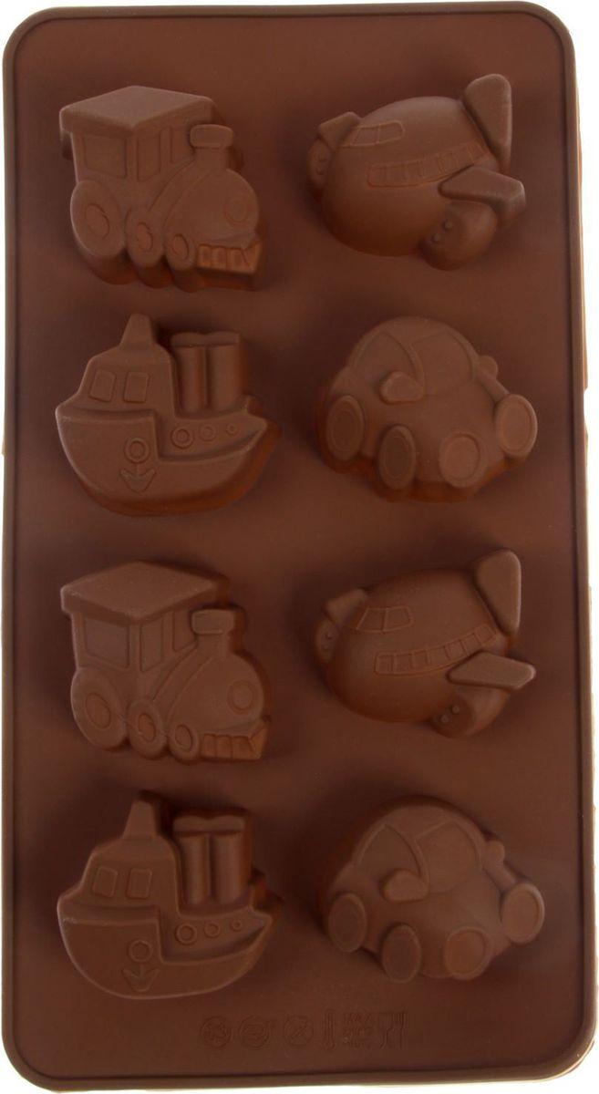 Форма для льда и шоколада Доляна Машинки, 8 ячеек, 22 х 12 см113997Фигурная форма для льда и шоколада Доляна Машинки выполнена из пищевого силикона, который не впитывает запахов, отличается прочностью и долговечностью. Материал полностью безопасен для продуктов питания. Кроме того, силикон выдерживает температуру от -40°С до +250°С, что позволяет использовать форму в духовом шкафу и морозильной камере. Благодаря гибкости материала готовый продукт легко вынимается и не крошится.С помощью такой формы можно приготовить оригинальные конфеты и фигурный лед. Приготовить миниатюрные украшения гораздо проще, чем кажется. Наполните силиконовую емкость расплавленным шоколадом, мастикой или водой и поместите в морозильную камеру. Вскоре у вас будут оригинальные фигурки, которые сделают запоминающимся любой праздничный стол! В формах можно заморозить сок или приготовить мини-порции мороженого, желе, шоколада или другого десерта. Особенно эффектно выглядят льдинки с замороженными внутри ягодами или дольками фруктов. Заморозив настой из трав, можно использовать его в косметологических целях.Форма легко отмывается, в том числе в посудомоечной машине.