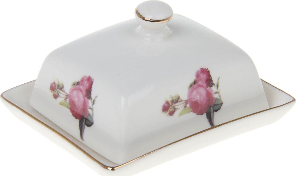 Масленка Доляна Комплимент1169103Масленка поможет оформить стол для пышных торжеств. Предмет изготовлен из качественной тонкостенной керамики. Нежно-белая поверхность придётся по душе ценителям классики. Яркий рисунок отличается тщательностью проработки. Элегантный штрих — кайма насыщенного золотого цвета.