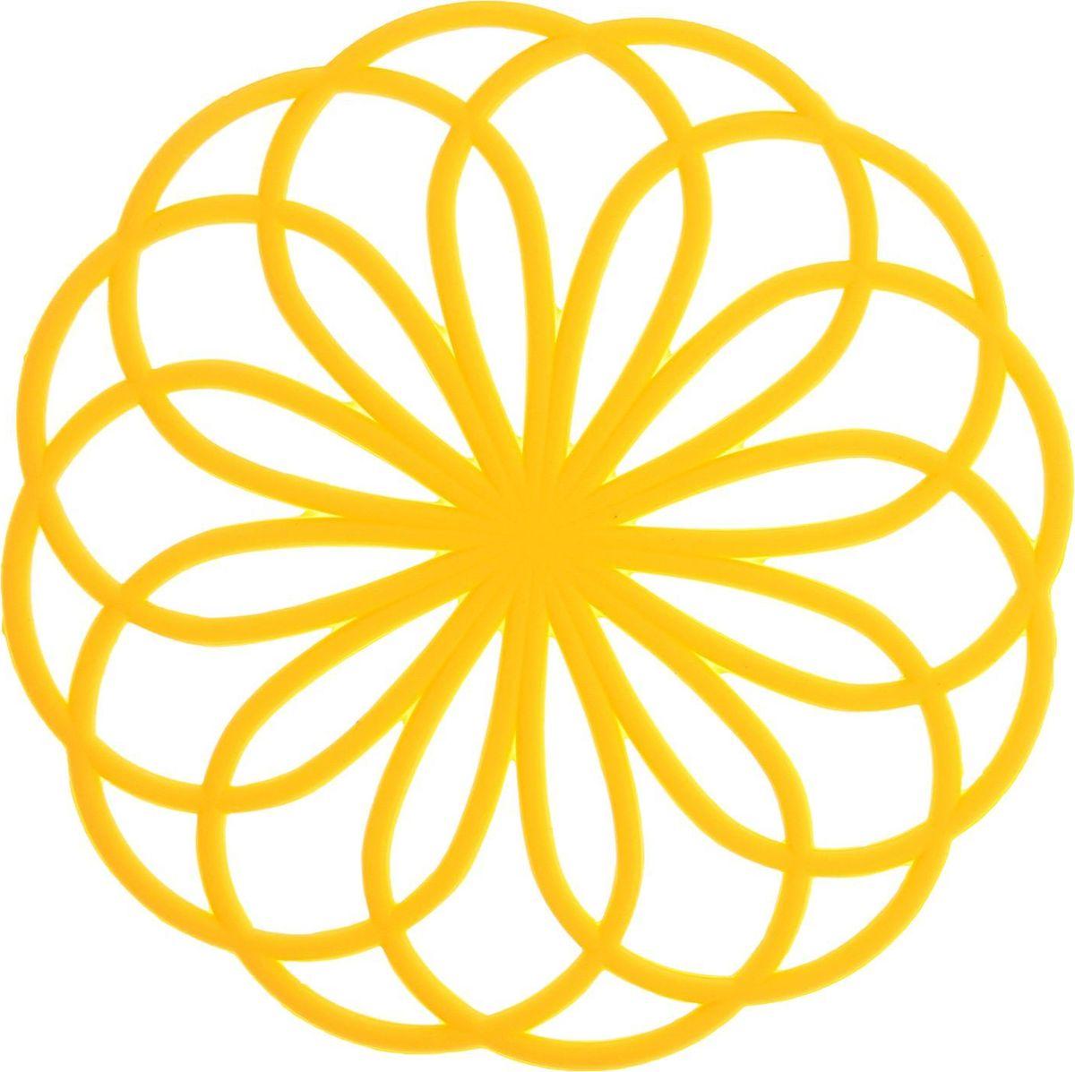 Подставка под горячее Доляна Спирограф, цвет: желтый, 20 см1687501Силиконовая подставка под горячее Доляна Спирограф — практичный предмет, который обязательно пригодится в хозяйстве. Изделие поможет сберечь столы, тумбы, скатерти и клеёнки от повреждения нагретыми сковородами, кастрюлями, чайниками и тарелками. Размер: 20 см.