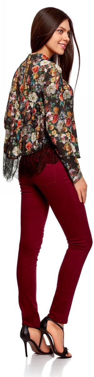Блузка женская oodji Collection, цвет: черный, красный, цветы. 21400406/45287/2945F. Размер 36-170 (42-170)21400406/45287/2945FОригинальная блузка oodji Collection из струящейся ткани идеальна для создания делового или романтического образа. Модель прямого кроя с отложным воротничком и глубоким вырезом-капелькой на спинке застегивается сзади на пуговицу. Изюминкой изделия является плиссированная спинка с фигурной кружевной вставкой по краю. Широкие манжеты длинных рукавов дополнены рядом пуговиц в цвет блузки. Модель подойдет офиса, прогулок или дружеских встреч и будет отлично сочетаться с джинсами и брюками, а также гармонично смотреться с юбками.