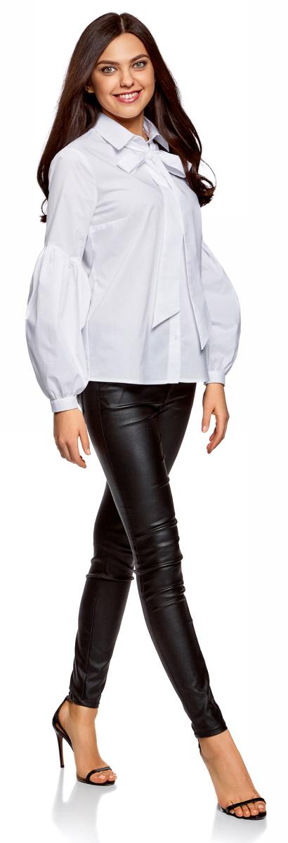 Блузка женская oodji Ultra, цвет: белый. 11401264/46965/1000N. Размер 34-170 (40-170)