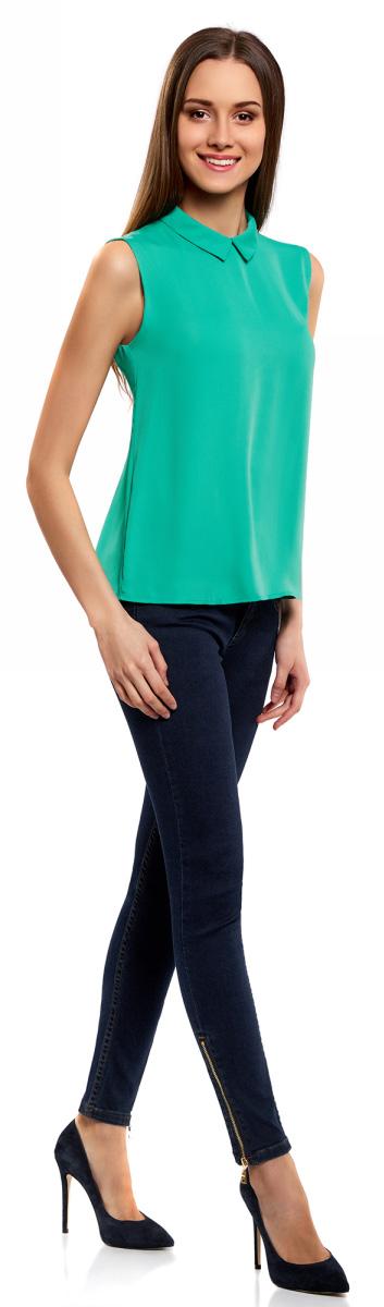 Блузка женская oodji Ultra, цвет: изумрудный. 11411084B/43414/6D00N. Размер 42-170 (48-170) блузка женская oodji ultra цвет белый 11400444 2 42083 1000n размер 42 170 48 170