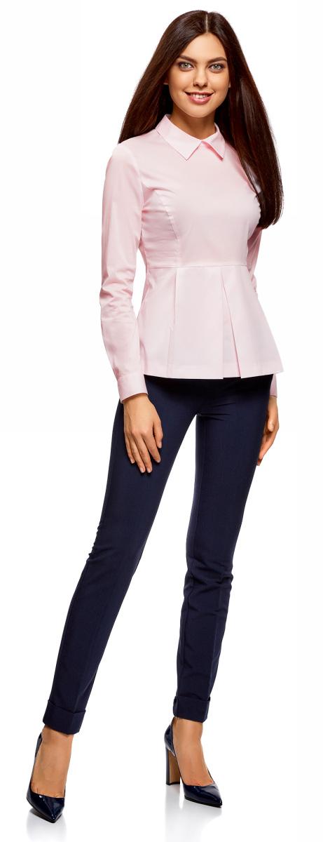 Блузка женская oodji Ultra, цвет: светло-розовый. 11400444/42083/4000N. Размер 36-170 (42-170)11400444/42083/4000NСтильная блузка oodji изготовлена из смесовой ткани и застегивается сзади на молнию. Модель выполнена с отложным воротничком и длинными рукавами. Манжеты рукавов дополнены застежками-пуговицами. Спереди блузка оформлена декоративными складками.