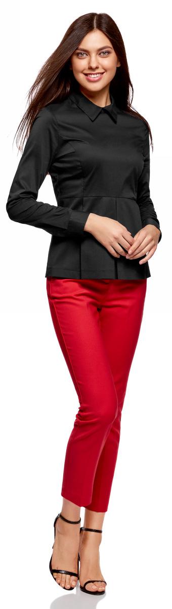 Блузка женская oodji Ultra, цвет: черный. 11400444/42083/2900N. Размер 38-170 (44-170)11400444/42083/2900NСтильная блузка oodji изготовлена из смесовой ткани и застегивается сзади на молнию. Модель выполнена с отложным воротничком и длинными рукавами. Манжеты рукавов дополнены застежками-пуговицами. Спереди блузка оформлена декоративными складками.