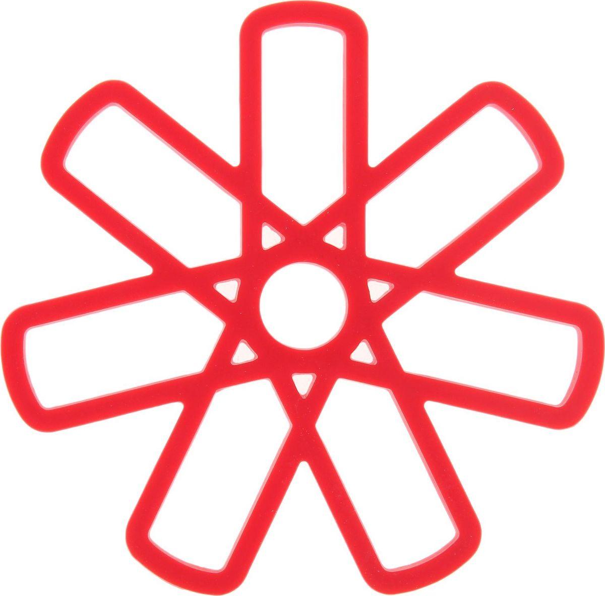 Подставка под горячее Доляна Геометрия, 16х16 см811878Силиконовая подставка под горячее — практичный предмет, который обязательно пригодится в хозяйстве. Изделие поможет сберечь столы, тумбы, скатерти и клеёнки от повреждения нагретыми сковородами, кастрюлями, чайниками и тарелками.