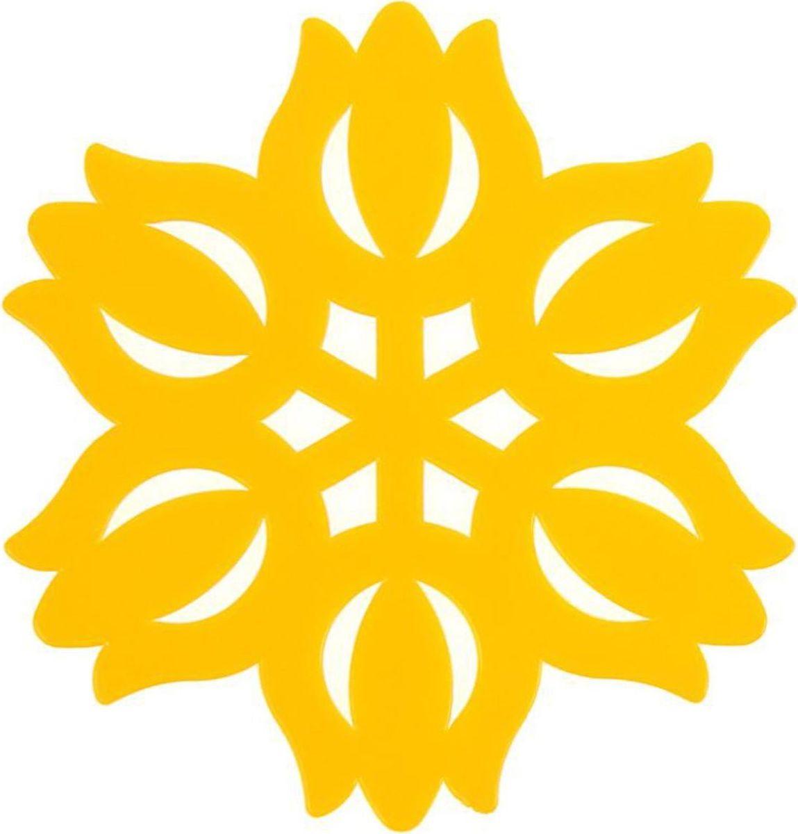 Подставка под горячее Доляна Тюльпан, цвет: желтый, диаметр 11 см811889Силиконовая подставка под горячее - практичный предмет, который обязательно пригодится в хозяйстве. Изделие поможет сберечь столы, тумбы, скатерти и клеёнки от повреждения нагретыми сковородами, кастрюлями, чайниками и тарелками.Необычный дизайн и яркий цвет этой подставки не только порадует глаз, но и украсит вашу кухню!