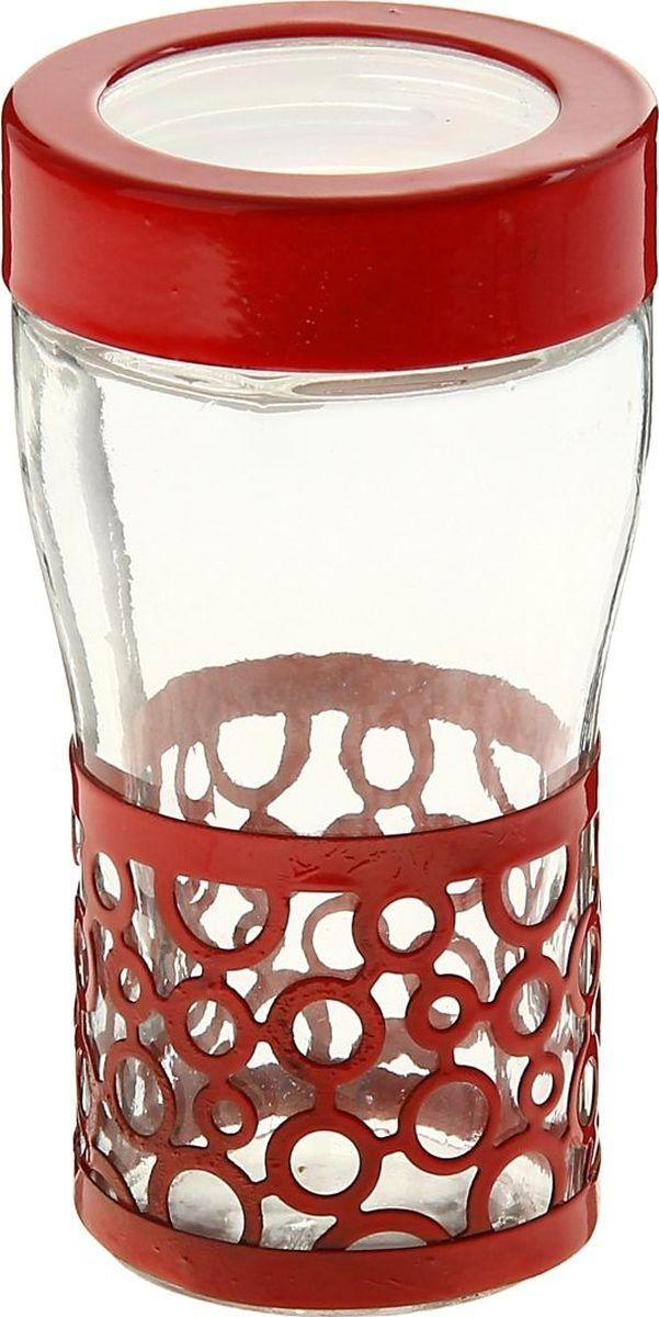 Солонка Доляна Круги, цвет: красный, 40 мл813614Оригинальная солонка Доляна Круги выполнена из стекла и металла. Солонка украсит любую кухню и подчеркнет прекрасный вкус хозяина.