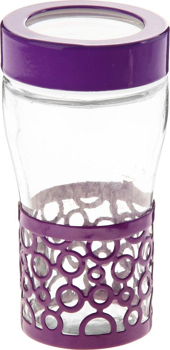 Солонка Доляна Круги, цвет: фиолетовый, 40 мл813615Оригинальная солонка Доляна Круги выполнена из стекла и металла. Солонка украсит любую кухню и подчеркнет прекрасный вкус хозяина.