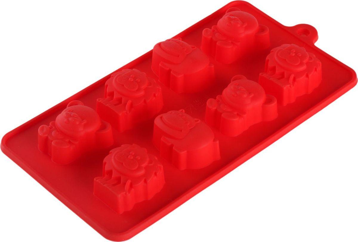 Форма для льда и шоколада Доляна Зоопарк, цвет: красный, 8 ячеек, 22 х 12 х 3 см549344Фигурная форма для льда и шоколада Доляна Зоопарк выполнена из пищевого силикона, который не впитывает запахов, отличается прочностью и долговечностью. Материал полностью безопасен для продуктов питания. Кроме того, силикон выдерживает температуру от -40°С до +250°С, что позволяет использовать форму в духовом шкафу и морозильной камере. Благодаря гибкости материала готовый продукт легко вынимается и не крошится.С помощью такой формы можно приготовить оригинальные конфеты и фигурный лед. Приготовить миниатюрные украшения гораздо проще, чем кажется. Наполните силиконовую емкость расплавленным шоколадом, мастикой или водой и поместите в морозильную камеру. Вскоре у вас будут оригинальные фигурки, которые сделают запоминающимся любой праздничный стол! В формах можно заморозить сок или приготовить мини-порции мороженого, желе, шоколада или другого десерта. Особенно эффектно выглядят льдинки с замороженными внутри ягодами или дольками фруктов. Заморозив настой из трав, можно использовать его в косметологических целях.Форма легко отмывается, в том числе в посудомоечной машине.