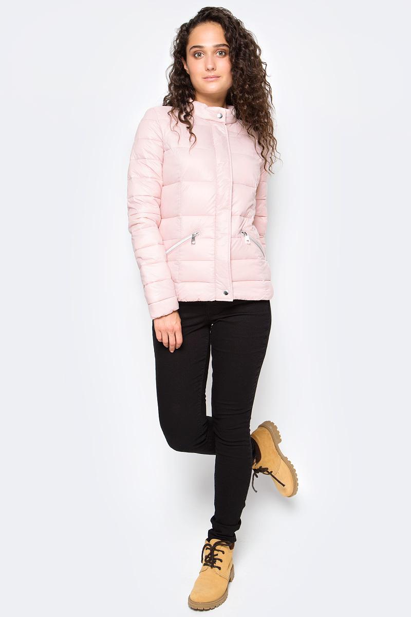 Куртка женская Tom Tailor, цвет: розовый. 3555005.00.71_4729. Размер XL (50)3555005.00.71_4729Утепленная стеганая куртка Tom Tailor выполнена из ветрозащитного материала. Модель с длинными рукавами и воротником-стойкой застегивается на молнию и имеет ветрозащитный клапан на кнопках. Спереди куртка дополнена прорезными карманами на молниях.