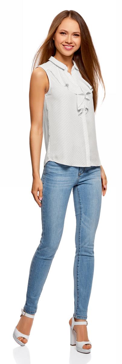 Блузка женская oodji Collection, цвет: белый, черный. 21411108/36215/1229D. Размер 46 (52-170)