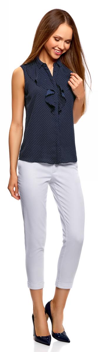 Блузка женская oodji Collection, цвет: темно-синий, белый. 21411108/36215/7912D. Размер 40-170 (46-170) платье oodji collection цвет черный белый 24001104 1 35477 1079s размер l 48