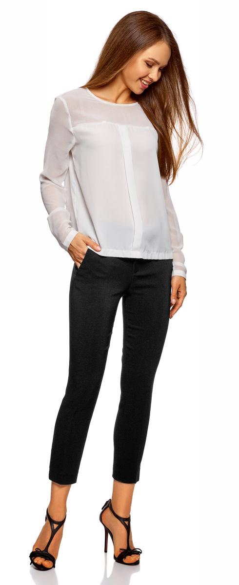 Брюки женские oodji Collection, цвет: черный. 21703123/47462/2900N. Размер 44 (50-170) платье oodji collection цвет черный белый 24001104 1 35477 1079s размер l 48