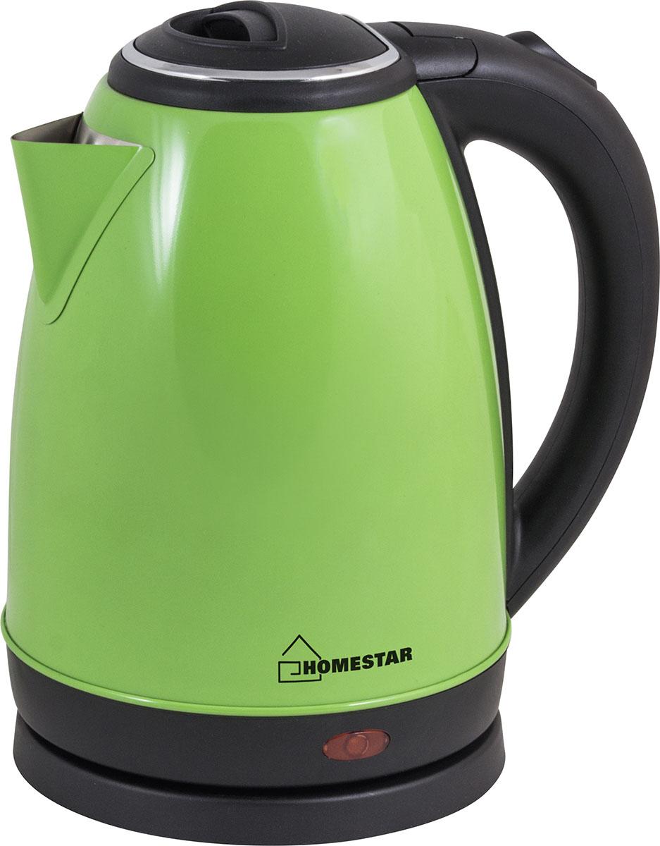 HomeStar HS-1010, Green чайник электрический54 003015Электрический чайник HomeStar HS-1010 в стильном металлическом корпусе мощностью 1500 Вт и объемом 1,8 литра отвечает всем современным требованиям надежности и безопасности. При его производстве используются только высококачественные и экологически безопасные материалы. О включенном состоянии вам сообщит светоиндикатор. Безопасность обеспечивает блокировка включения без воды. При закипании чайник выключается автоматически.Устройство будет служить вам долгие годы, наполняя ваш быт комфортом!