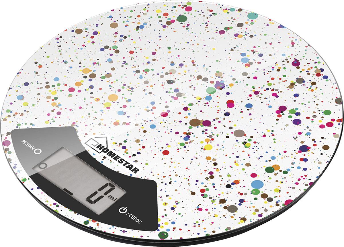 HomeStar HS-3007, White кухонные весы54 003016Кухонные электронные весы HomeStar HS-3007 - незаменимый помощник современной хозяйки. Они помогут точно взвесить любые продукты и ингредиенты. Кроме того, позволят людям, соблюдающим диету, контролировать количество съедаемой пищи и размеры порций. Предназначены для взвешивания продуктов с точностью измерения 1 грамм.Диаметр: 20 см