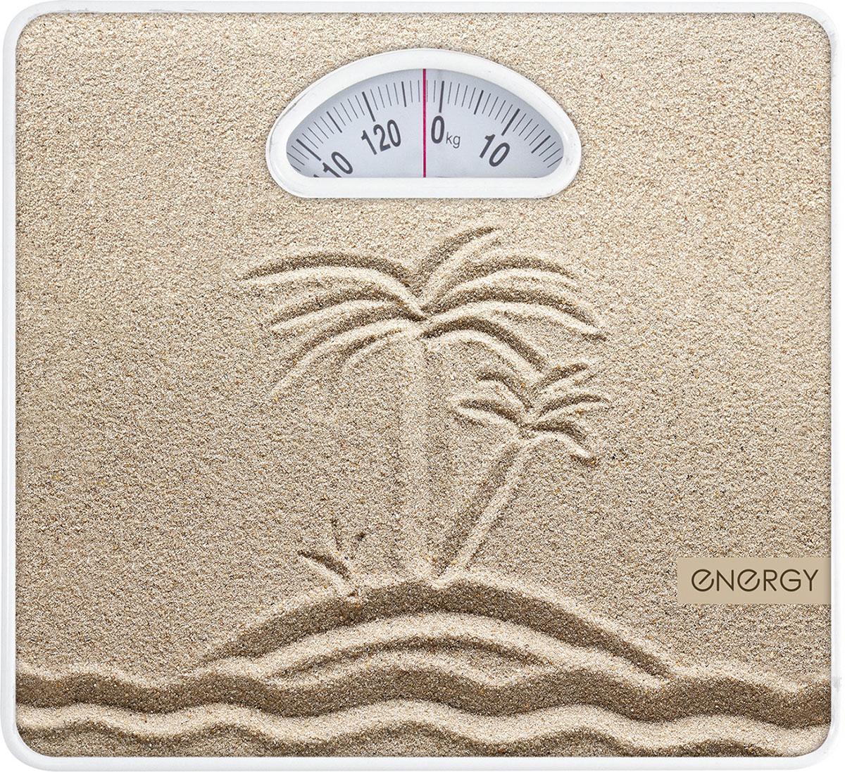 Energy ENМ-408Е напольные весы54 003117Напольные механические весы Energy ENМ-408E - неотъемлемый атрибут здорового образа жизни. Они необходимы тем, кто следит за своим здоровьем, весом, ведет активный образ жизни, занимается спортом и фитнесом. Очень удобны для будущих мам, постоянно контролирующих прибавку в весе, также рекомендуются родителям, внимательно следящим за весом своих детей.Надежный механизмКрупный шрифт надписей на шкалеЦена деления: 1 кг