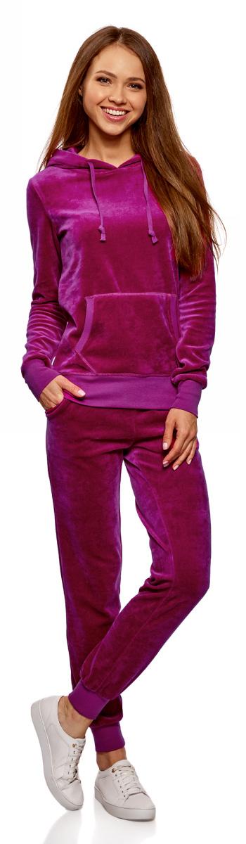 Брюки спортивные женские oodji Ultra, цвет: ягодный. 16701052B/47883/4C01N. Размер M (46)16701052B/47883/4C01NЖенские спортивные брюки oodji изготовлены из качественной смесовой ткани. Модель выполнена с широким эластичным поясом и завязками на талии. Низы брючин дополнены широкими манжетами.