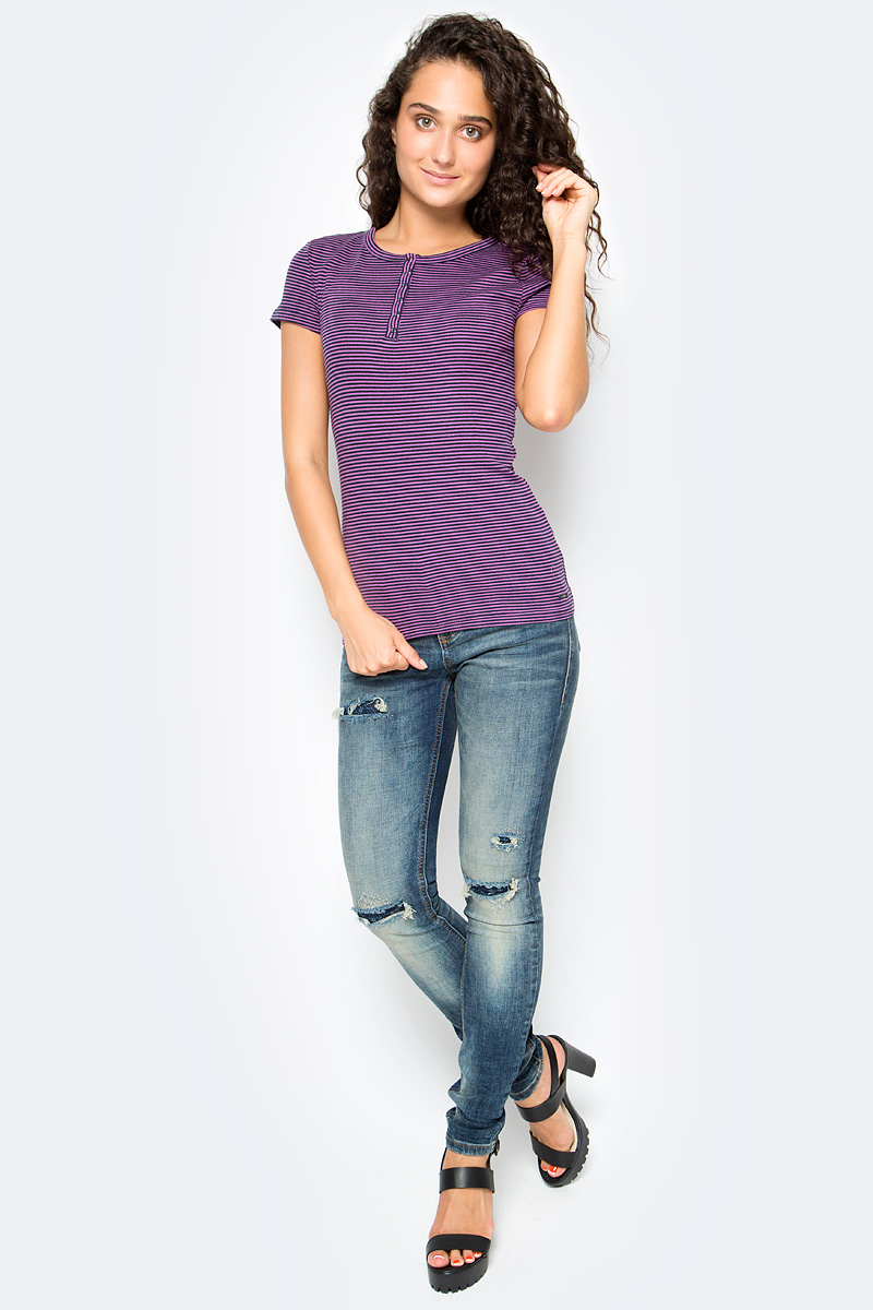 Футболка женская Tom Tailor, цвет: синий, сиреневый. 1055033.00.71_1004. Размер M (46) футболка женская moodo цвет белый сиреневый серый l ts 2045 white размер m 46