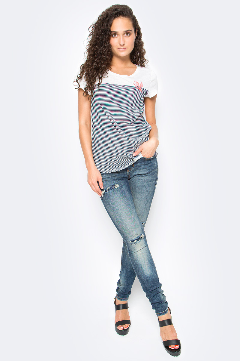 Футболка женская Tom Tailor, цвет: белый, серый. 1055005.00.71_1002. Размер S (44) футболка женская tom tailor цвет белый 1055030 00 71 8587 размер s 44