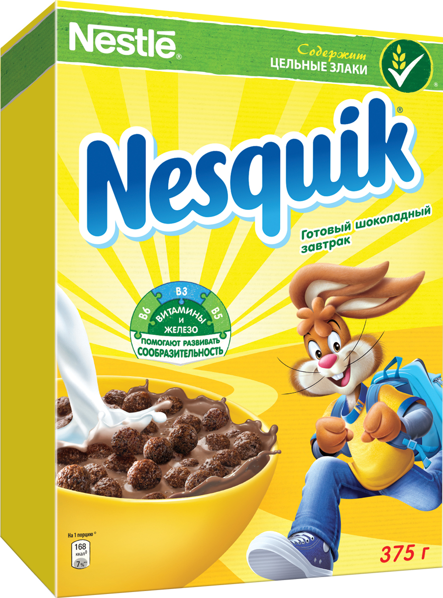 Nestle Nesquik Шоколадные шарики готовый завтрак, 375 г12156118Готовый завтрак Nestle Nesquik Шоколадные шарики - такой вкусный и невероятно шоколадный завтрак! Тарелка полезного для здоровья готового завтрака Nesquik в сочетании с молоком - это прекрасное начало дня. В состав готового завтрака Nesquik входят цельные злаки (природный источник клетчатки), а также он обогащен 7 витаминами, железом и кальцием, которые помогают расти здоровым и умным. Какао - секрет волшебного шоколадного вкуса Nesquik, который так нравится детям. Дети любят готовый завтрак Nesquik за чудесный шоколадный вкус, а мамы - за его пользу.Рекомендуется употреблять с молоком, кефиром, йогуртом или соком.Уважаемые клиенты! Обращаем ваше внимание на то, что упаковка может иметь несколько видов дизайна. Поставка осуществляется в зависимости от наличия на складе.