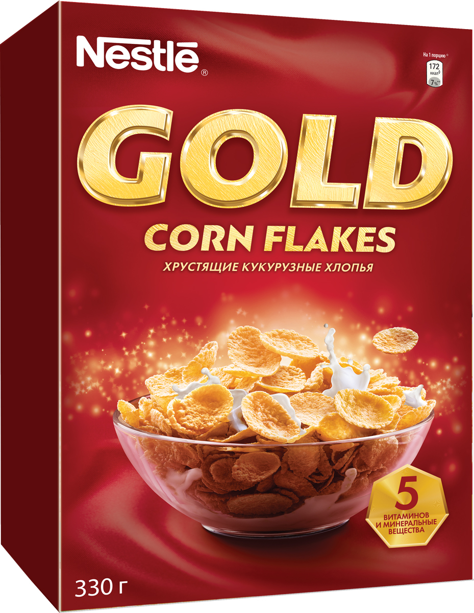 Nestle Gold Corn Flakes готовый завтрак, 330 г12183930Готовый завтрак Nestle Gold Corn Flakes - это отличный завтрак для всей семьи. Хрустящие кукурузные хлопья дополнительно обогащены комплексом витаминов. Каждая порция готового завтрака более чем на 15% удовлетворяет рекомендуемую суточную потребность в витаминах B2, B3 (ниацине), B5 (пантотеновой кислоте), B6 и B9 (фолиевой кислоте). Вы любите начинать утро с полезного, качественного и вкусного завтрака? Вы привыкли выбирать для себя только самое лучшее? Тогда кукурузные хлопья Gold Corn Flakes - для вас! Хлопья рекомендуется употреблять с молоком, кефиром, йогуртом или соком.Уважаемые клиенты! Обращаем ваше внимание на то, что упаковка может иметь несколько видов дизайна. Поставка осуществляется в зависимости от наличия на складе.