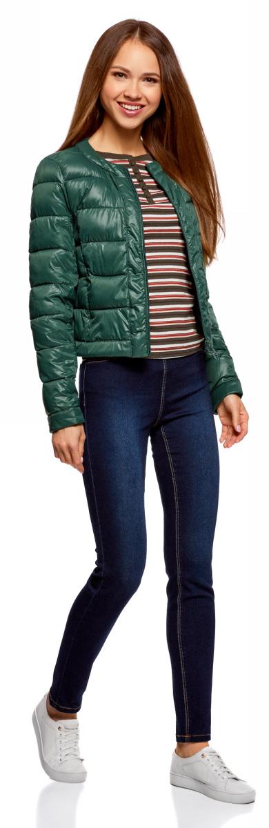 Куртка женская oodji Ultra, цвет: темно-зеленый. 10203050-2B/33445/6900N. Размер 34-170 (40-170)10203050-2B/33445/6900NКуртка женская oodji Ultra выполнена из полиамида. Модель с длинными рукавами и круглым вырезом горловины застегивается на застежку-молнию.