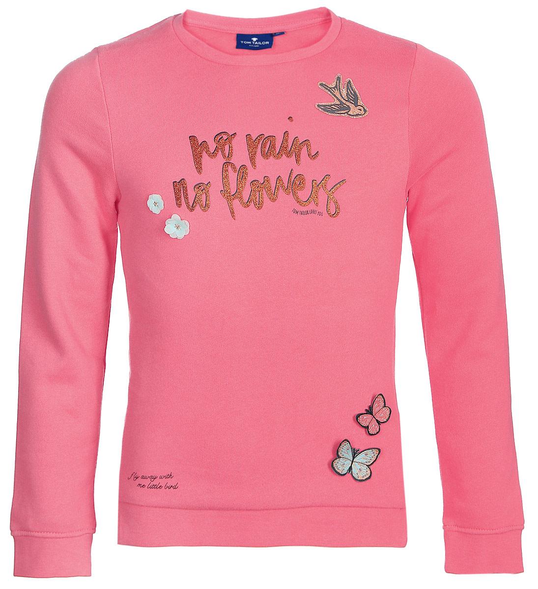 Свитшот для девочки Tom Tailor, цвет: розовый. 2531425.00.81. Размер 104/110 купить