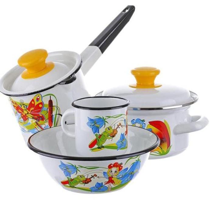 Набор посуды КМК Кокетка 4 предмета. 48230777135764823077713576Набор 4 предмета, материал эмаль, состав: кастрюли цил.1,5л., ковш 1,0л., кружка .0,3л., миска 0,8л