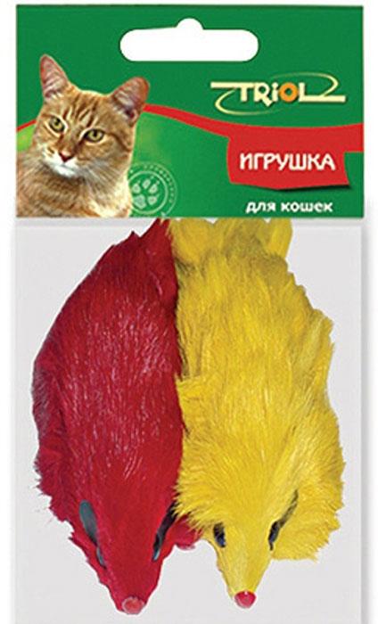 Игрушка для кошек Triol Мышь, цвет: желтый, красный, 2 штЧ-08100Забавная мышка яркого цвета из натурального меха, не позволит скучать вашему любимцу. Играя с этой забавной игрушкой, маленькие котята развиваются физически, а взрослые кошки и коты поддерживают свой мышечный тонус. Мышка сразу привлечет внимание вашего любимца, не навредит здоровью, и увлечет его на долгое время.Характеристики:Длина мышки (без хвоста): 10 см. Материал: мех, пластик. Артикул: M004NC.