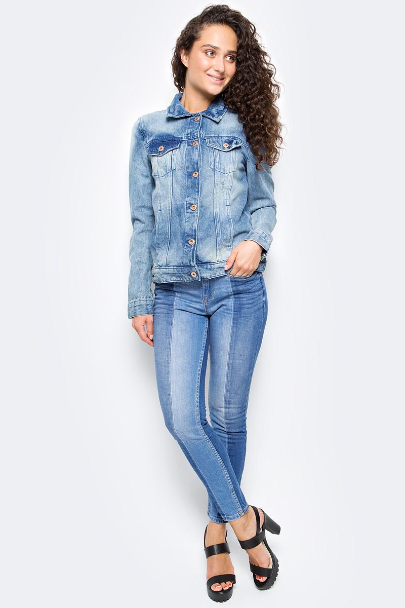 Джинсы женские Tom Tailor, цвет: голубой. 6255016.00.71_1053. Размер 26-32 (42-32)6255016.00.71_1053Женские джинсы Tom Tailor с небольшим эффектом потертости ткани. Модель зауженного кроя и средней посадки в поясе застегивается на пуговицу, имеются ширинка на молнии и шлевки для ремня. Джинсы имеют классический пятикарманный крой.