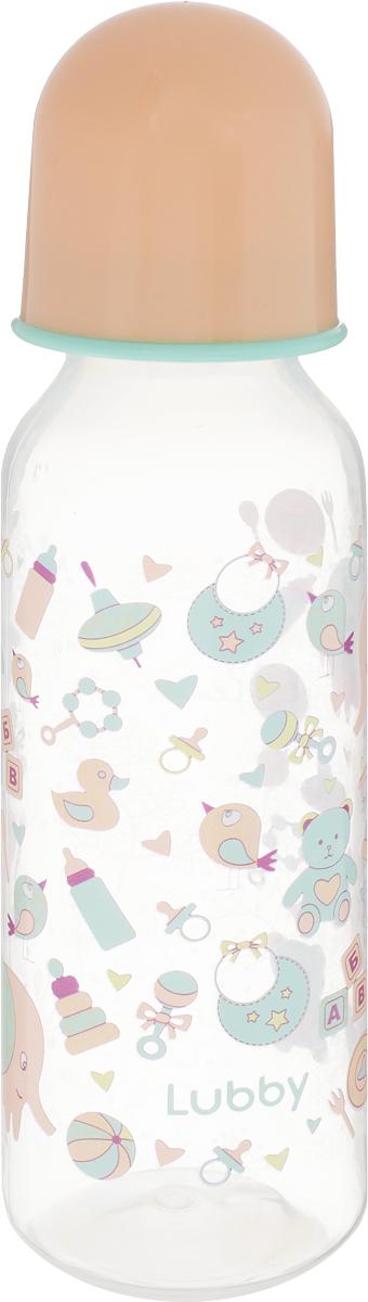 Lubby Бутылочка для кормления с силиконовой соской Малыши и малышки от 0 месяцев цвет персиковый 250 мл