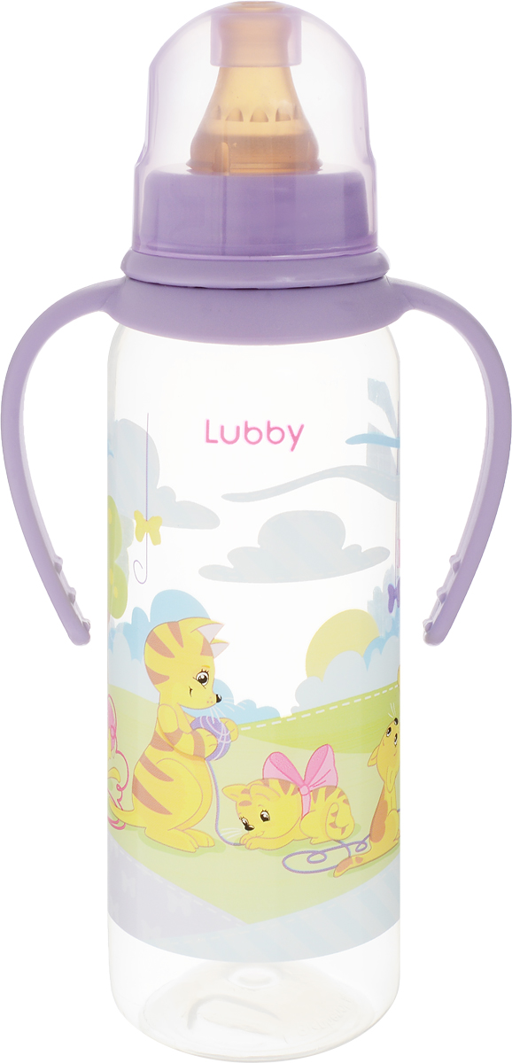 Lubby Бутылочка с латексной соской Веселые животные от 0 месяцев цвет фиолетовый 250 мл lubby бутылочка для кормления русские мотивы с ручками от 0 месяцев цвет оранжевый 250 мл